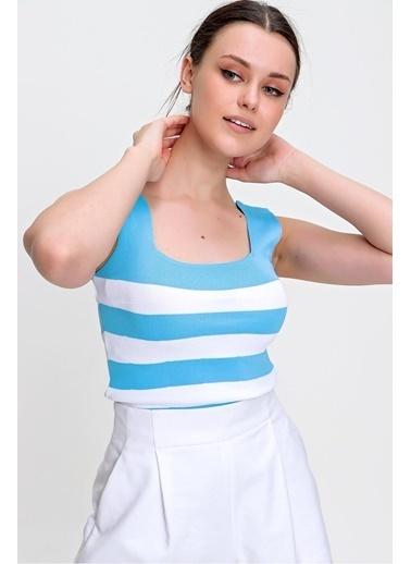 Pink Park Çizgili Triko Crop Bluz YL00008 Mavi
